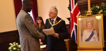 Chairman of Linconshire County Council Ray Wootten presented the new citizens with their certificates. Photo: Steve Smailes for The LIncolnite