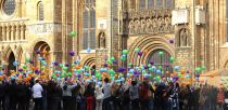 One thousand balloons were released at Lincoln Cathedral in memory of Ethan Maull on May 11. Photo: Emily Norton