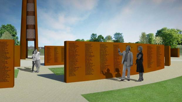 The wall and spire are made from Corten steel, the same material as the Angel of the North.