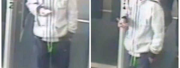 CCTV stills of a man police want to speak to in relation to the suitcase theft.