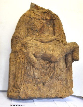 The 15th Century sculpture of the Virgin Mary and Christ.