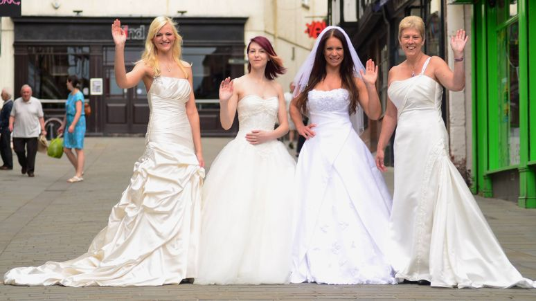 Vicki opened her second-hand wedding dress ahop with the help of friends and family. Pictured is friends Kim Burland, Charlotte Clarke, Michelle Margrave and mum Deborah Swan. Photo: Steve Smailes for The Lincolnite
