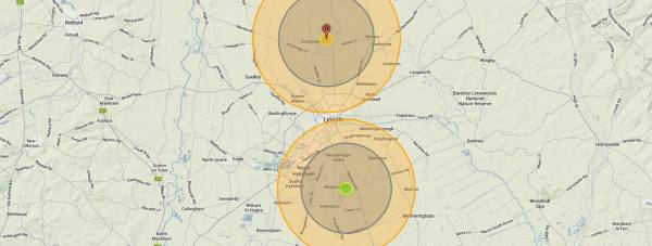 The nuclear fallout in Lincoln according to National Archive Cold War nuke targets. Photo: Nukemap by Alex Wellerstein