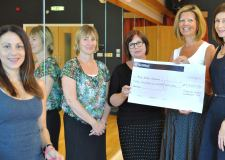 The three annual donations will ensure the Pink Ribbon Programme is run free of charge. (L-R) Jess Coveley, Andrea Dean, Kate Hughes, Ruth Lamb and Karen Armitage