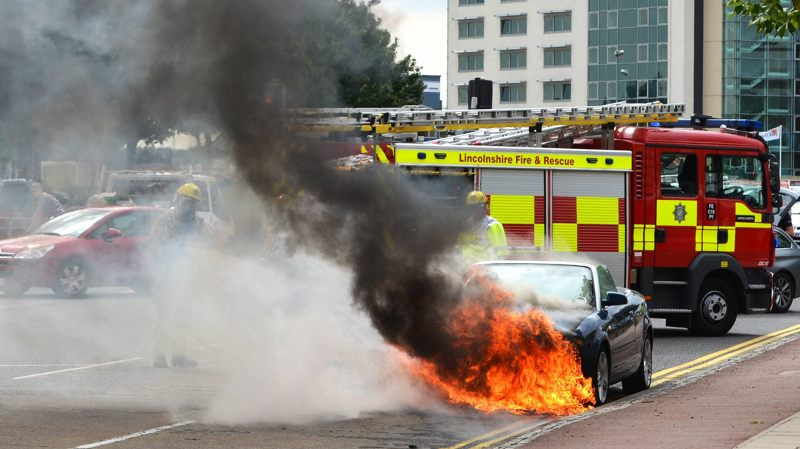 The scene after an Audi A4 convertible caught fire on Rope Walk in Lincoln. Photo: Emily Norton for The Lincolnite