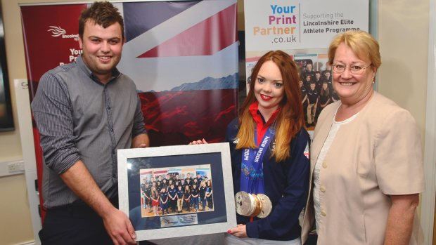 Jade was presented with a gift from Your Print Partner and Lincolnshire Elite Athlete Programme. Photo: Steve Smailes for The Lincolnite