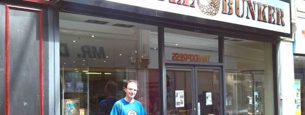 Owner Ben Stubbs outside wargaming shop The Battle Bunker.