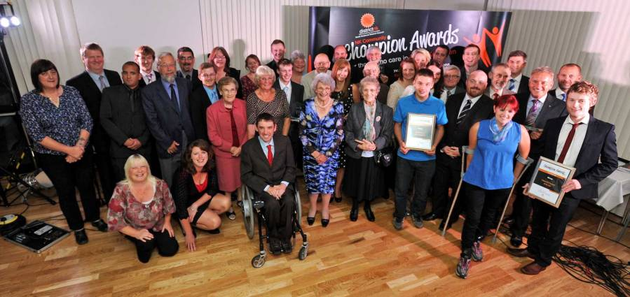 The winners and nominees in the 2013 NK Community Awards with Leader of North Kesteven District Council, Mrs Marion Brighton OBE. Photo: Stuart Wilde