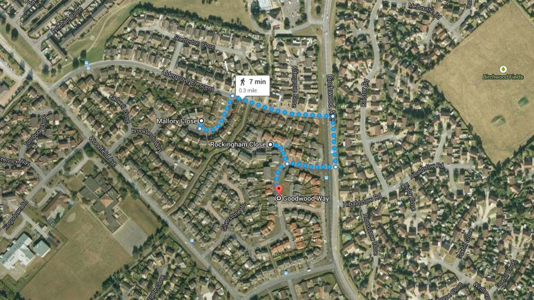The area in Birchwood, Lincoln, affected by the anti-social behaviour incidents. Map data: Google