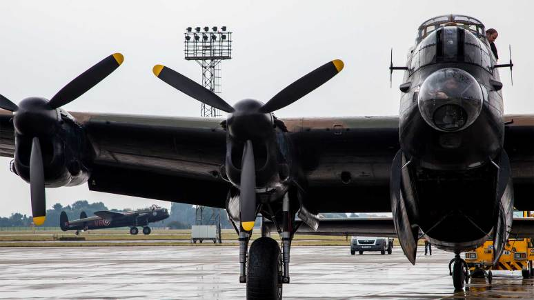 The BBMF and Canadian Lancasters at RAF Coningsby. Photo: Sean Strange