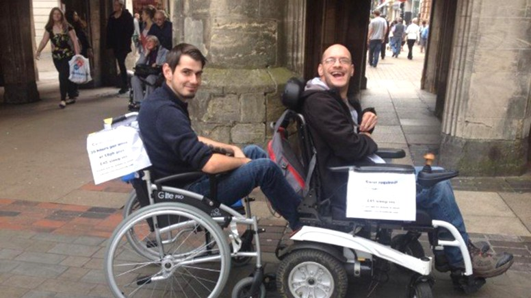 """Matt is hoping to find a new carer by using what he calls a """"wheelchair train"""" advertising strategy."""