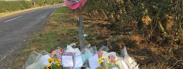 Tributes on the B1241 for Jacques Mayo, who died after a moped crash on September 21, 2014.