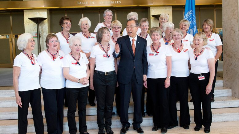 The group were greeted by UN Secretary-General Ban Ki-moon after their inspiring dance performance. Photo: UN