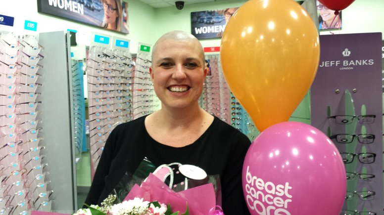 Optical assistant Cheryl Flint went rhough with her charity head shave.