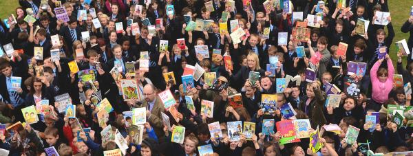Priory Witham Academy students took part in the reading flash mob to celebrate their new library facility. Photo: Steve Smailes for The Lincolnite