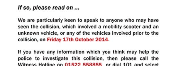 Police are handing motorists leaflets at the scene of the collision.