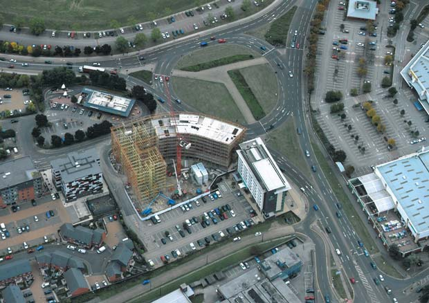 The Gateway development seen from above
