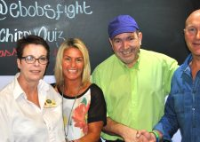 (L-R) Lesley Anastasiou from Burton Road Chippy, Ethan's mum Sam Maull, Des Anastasiou from the chippy and Darren Maull, Ethan's dad at the annual Shooting Star PR charity quiz.