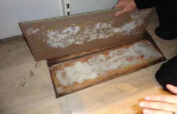 Cigarettes were found hidden under the floorboards.