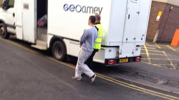 Bee, 22, on his way to court this morning.