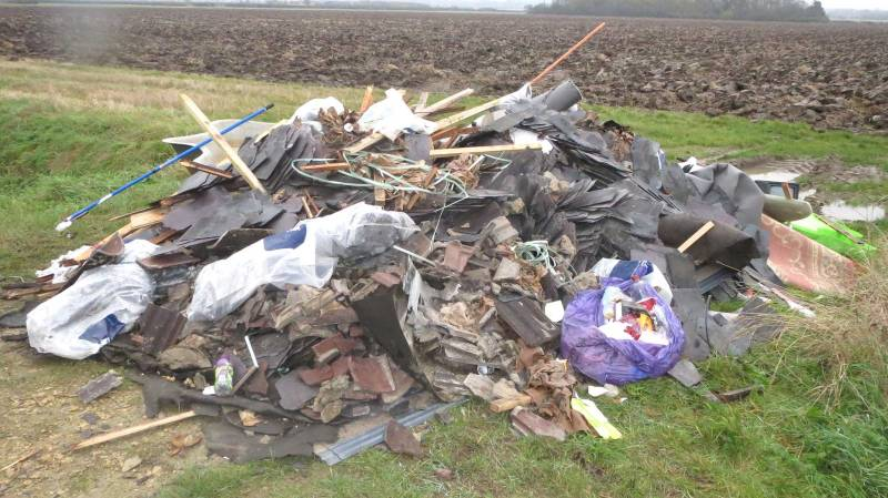 Fly tipping waste from the Lincoln roofing project was illegally dumped near Aisthorpe.