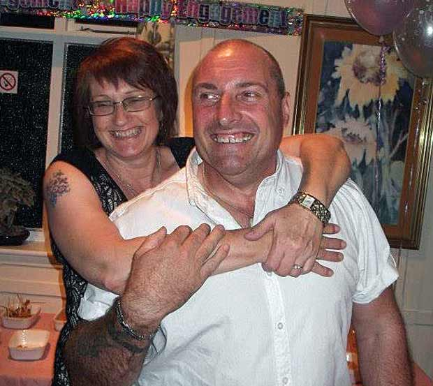 Dave and Di celebrating their engagement.