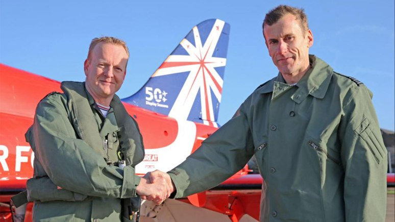 Wing Commander Martin Higgins officially took over as Officer Commanding Royal Air Force Aerobatic Team from Wing Commander Neil Fraser. Photo: SAC Adam Fletcher