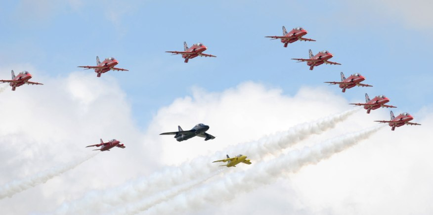 The Red Arrows performing at the 2014 Waddington Air Show. Photo: SAC Lauren Pope