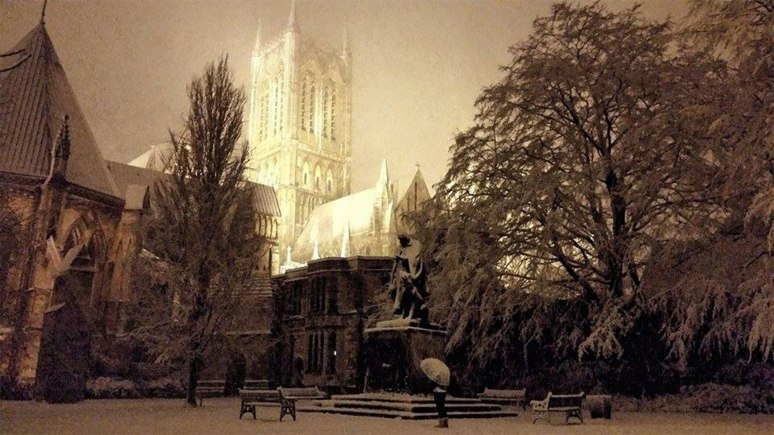 Lincoln Cathedral in the snow. Photo: Dave Brown