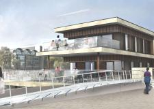 The designs for the new two-storey restaurant proposed on the Brayford waterfront. Image: STEM Architects.