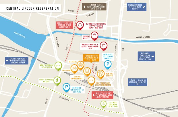 The regeration area of Lincoln, in which multiple developments are underway and planned for.
