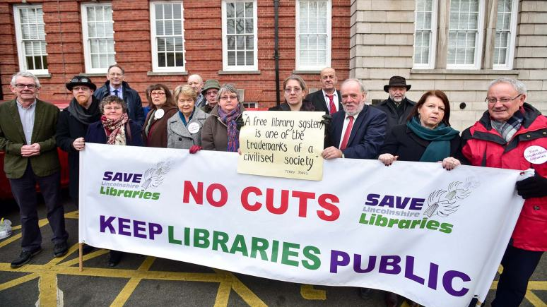 Protesters gathered at the Lincolnshire County Council offices against the proposed plans on January 27. Photo: Steve Smailes for The Lincolnite