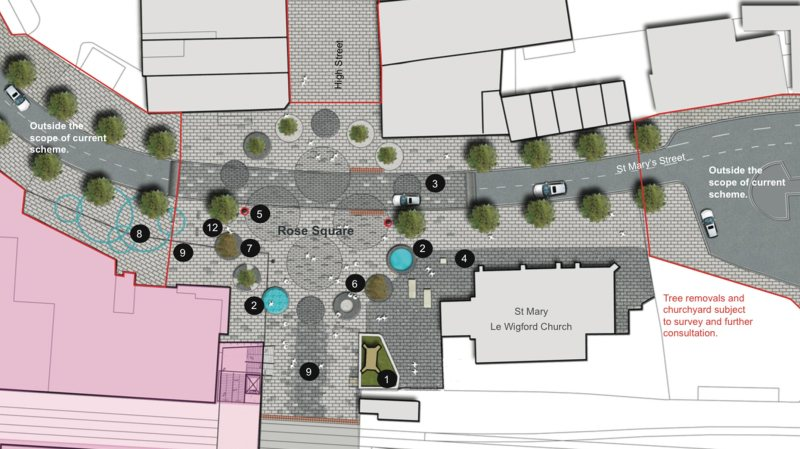 The new Rose Square would feature a projection of a Lincoln Cathedral stained glass window.