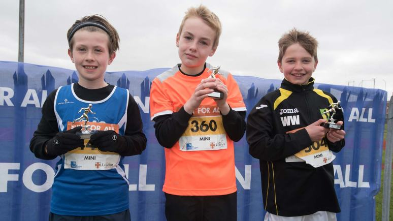 Mini Run winners Harry Denton, Ed Parry and William Webb. Photo: Steve Smailes for The Lincolnite
