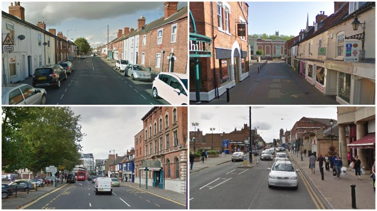 Burglars targeted small businesses on Burton Road, Sincil Street, St Mary's Street and Lower High Street. Images: Google Street view