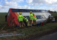 The bus was taken off the road into a ditch near Scothern. Photo: Lincolnshire Fire and Rescue Officer via Twitter