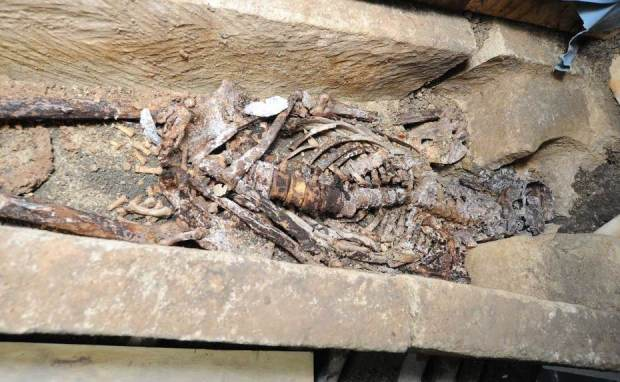 The Saxon sarcophagus unearthed during the Lincoln Castle excavations. Photo: Lincolnshire County Council