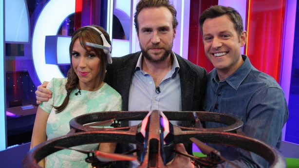 The One Show presenters plus Rafe Spall with the quadrocopter. Courtesy of The One Show