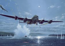 Lincolnshire artist Simon Atack's painting of a Lancaster bomber