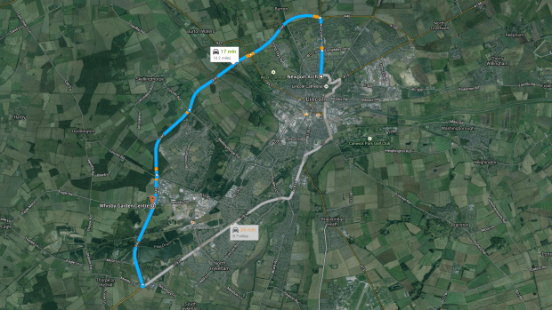 The route of the Lincoln Castle park & ride service from Whisby Garden Centre off the A46 to Newport in Lincoln. Image: Google Maps