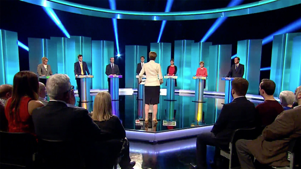 The ITV Leaders' Debate between David Cameron, Ed Miliband, Nick Clegg, Nigel Farage, Nicola Sturgeon, Natalie Bennett and Leanne Wood,