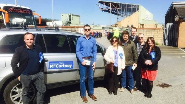 Stephen Phillips with fellow Conservatives campaigning outside Sincil Bank