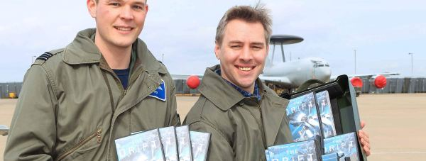 RAF Waddington staff with copies of The Drift