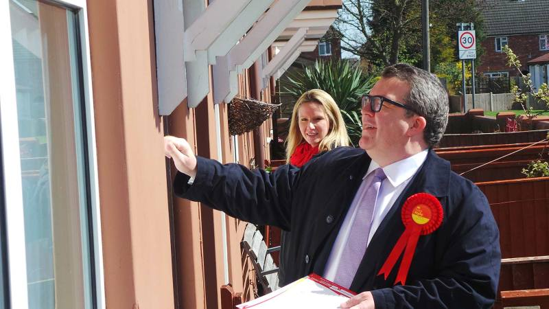 Tom Watson and Lucy Rigby door knocking in the Glebe area of the city on April 13, 2015