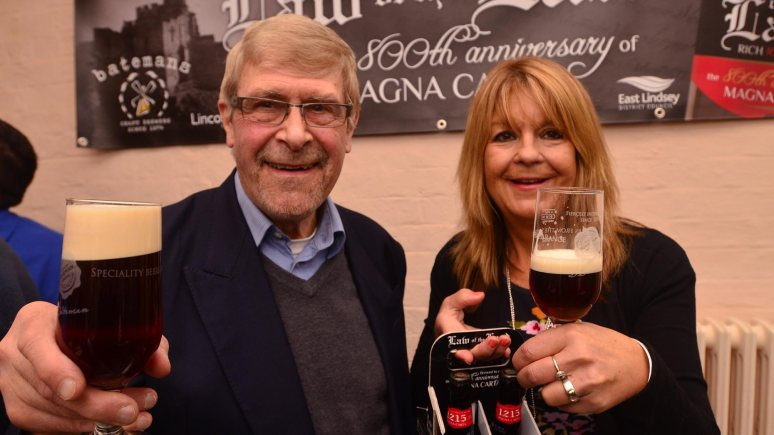 Rodger Protz, beer connoisseur and writer for the Annual Good Beer Guide with Jacklyn Bateman, Managing Director at Batemans Brewery. Photo: Steve Smailes for the Lincolnite