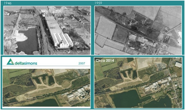 The brownfield site in historic pictures.