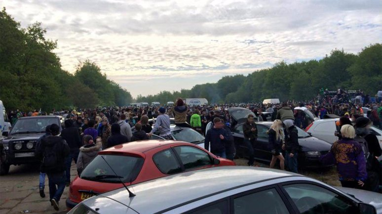 At its height, around 1,000 people attended the illegal rave at Twyfrod Woods on May 23/24 2015. Photo: James Needham