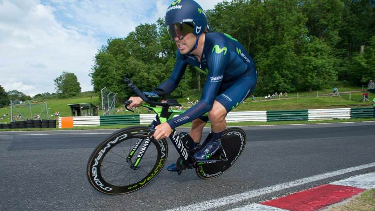 Movistar Team's Alex Dowsett takes first in the Cadwell Park Time Trial. Photo: Allan McKenzie/SWpix.com