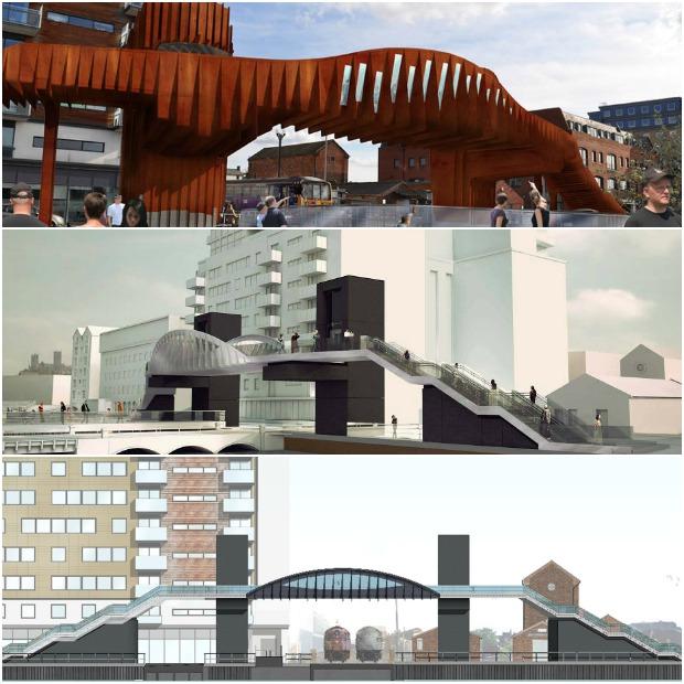 Brayford footbridge designs Collage