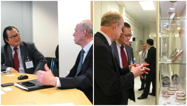 Minister Counsellor Xu Jin was accompanied by First Secretary Wanming Zhao and Peng Zhang on his tour of Dynex